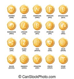 Bitcoin cryptocurrency golden coins icons. Vector isolated symbo
