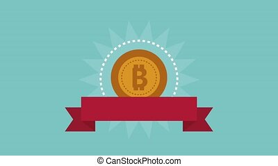 Bitcoin cryptocurrency HD animation - Bitcoin emblem with...