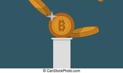 Bitcoin cryptocurrency HD animation - Bitcoin on column...