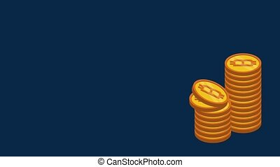 Bitcoin cryptocurrency money HD animation - Bitcoins piled...