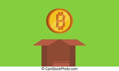 Bitcoin cryptocurrency money HD animation - Coin inside...