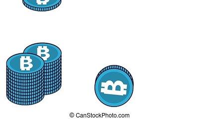 Bitcoin cryptocurrency money HD animation scenes - Bitcoins...