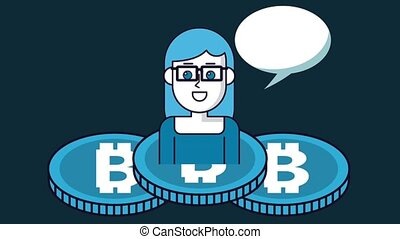Bitcoin cryptocurrency money HD animation scenes