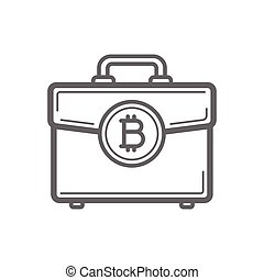 Bitcoin cryptocurrency portfolio coin line icon.