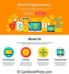 Bitcoin Cryptocurrency Web Design. Flat Style Vector...