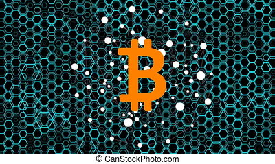 BTC Virtual Currency - Bitcoin cryptocurrency. Animation...