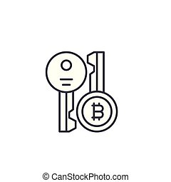 Bitcoin cryptographic keys linear icon concept. Bitcoin cryptographic keys line vector sign, symbol, illustration.