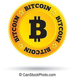Bitcoin. Innovative cryptography currency. Open source P2P (peer-to-peer) payment network. Digital money for internet business. Vector.