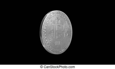 Bitcoin - cryptography digital currency coin, spinning...
