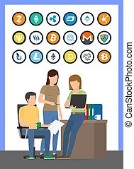 Bitcoin Currencies Icons Set and Workers Vector