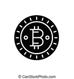 Bitcoin currency black icon concept. Bitcoin currency flat  vector symbol, sign, illustration.