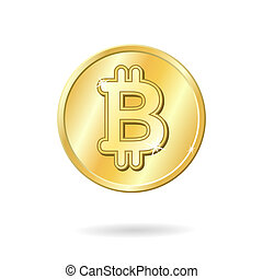 Bitcoin currency sign isolated vector illustration