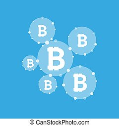 Bitcoin currency system peering network links illustration...