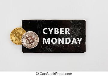 bitcoin, cyber, poniedziałek