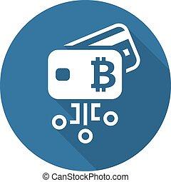 Bitcoin Debit Card Icon. Modern financial technology sign....