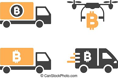 Bitcoin Delivery Vector Icon Set