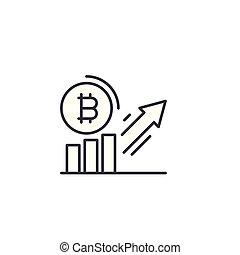 Bitcoin demand increase linear icon concept. Bitcoin demand increase line vector sign, symbol, illustration.