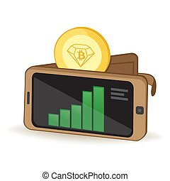 Bitcoin Diamond Cryptocurrency Coin Digital Wallet