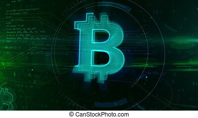 Bitcoin digital cryptocurrency abstract concept - Cyber...