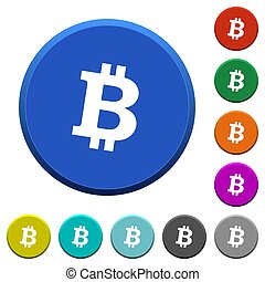 Bitcoin digital cryptocurrency beveled buttons