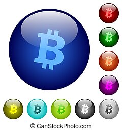 Bitcoin digital cryptocurrency color glass buttons
