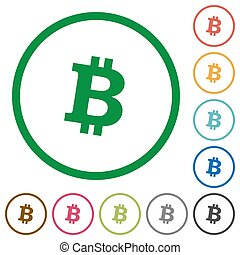 Bitcoin digital cryptocurrency flat icons with outlines