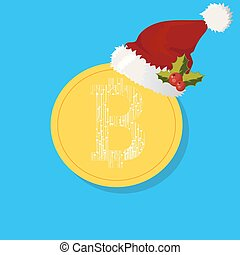 Bitcoin. Digital. Cryptocurrency. Golden coin with bitcoin...