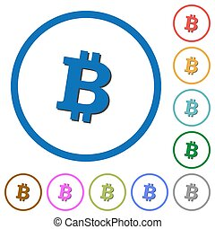 Bitcoin digital cryptocurrency icons with shadows and outlines