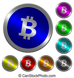 Bitcoin digital cryptocurrency luminous coin-like round color buttons