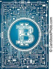 Bitcoin digital currency background. Futuristic chipset...