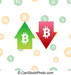 Bitcoin digital currency symbol with arrows up and down. Crypto currency inflation, deflation, evaluation or devaluation concept.