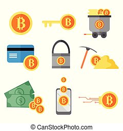 Bitcoin Digital Investment Vector Illustration Graphic Set