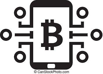 Bitcoin Digital Money Icon.