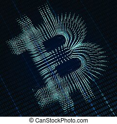 Bitcoin digital sign - abstract digital background with...