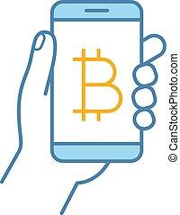 Bitcoin digital wallet color icon