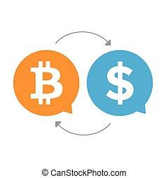 Bitcoin Dollar exchange sign