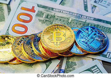 bitcoin., doré, cryptocurrency., bitcoin