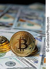 bitcoin., doré, cryptocurrency., bitcoin