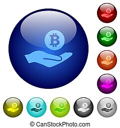 Bitcoin earnings color glass buttons