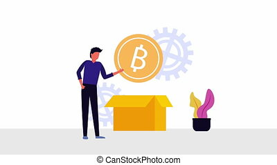 bitcoin ecommerce with businessman and box , 4k video animation