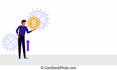 bitcoin ecommerce with businessman animation - bitcoin...