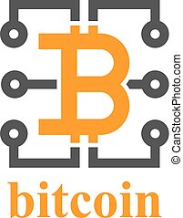 bitcoin, elektronischer stromkreis, symbol