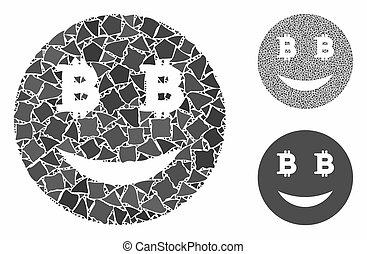 bitcoin, elementer, komposition, smiley, grov, ikon, glad