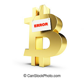 bitcoin error on a white background 3D illustration, 3D rendering