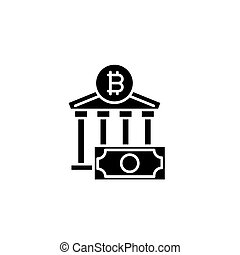 Bitcoin exchange black icon concept. Bitcoin exchange flat  vector symbol, sign, illustration.