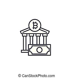 Bitcoin exchange linear icon concept. Bitcoin exchange line vector sign, symbol, illustration.
