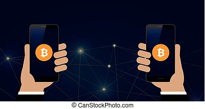 bitcoin exchange mobile banking concept of cryptocurrency technology