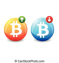 Bitcoin exchange rate sign vector