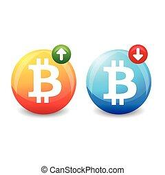 Bitcoin exchange rate sign vector