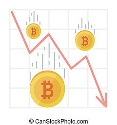Bitcoin Fall Chart. Cryptocurrency decline graph in flat style. Web money price crash
